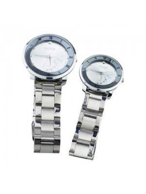 2 x Mike 9054 Stylish Round Dial Couple Watch with Steel Band - Silvery