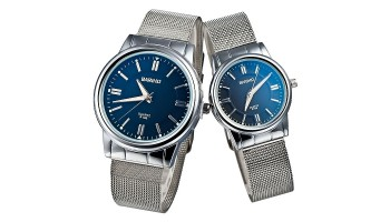 BARIHO Silver Solid Steel Quartz Men Women Couple Wrist Watch Black Dial