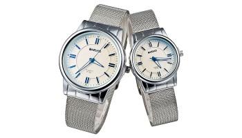 BARIHO Silver Solid Steel Quartz Men Women Couple Wrist Watch White Dial