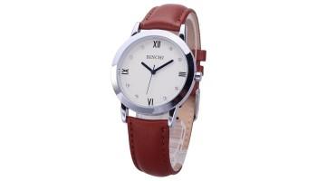 BINCHI Crytal Scale Brown Leather Strap Fashion Jewelry Watch