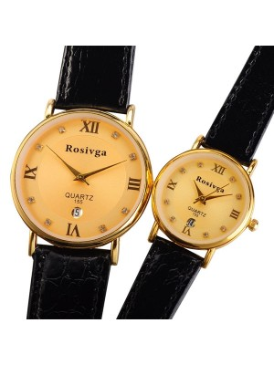 Casual Fashion Quartz Clock Hours With Date Analog Dial Crystal Couple Wrist Watch