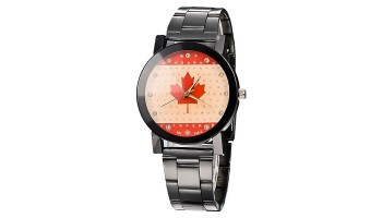 Classic Maple Leaf Black Steel Lovers Couple Wrist Watch