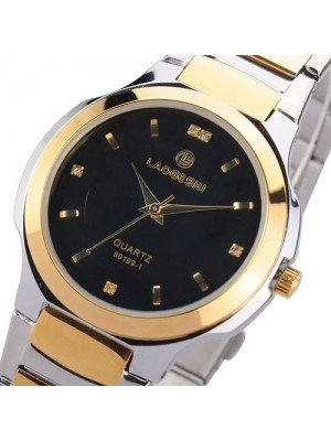 Crystal Scale Water-proof Stainless Steel Japan Quartz Movement Couple Watch