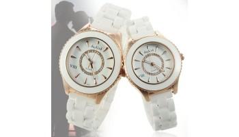 Daybird Ceramic Watchband Rotating Dial Crystal Women Men Quartz Watches