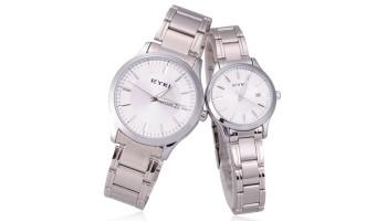 EYKI White Dial Day Date Women Men Couple Casual Wrist Watch