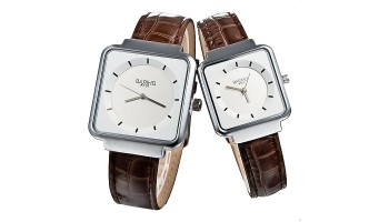 Fashion Leisure Square Dial Quartz Couple Lover's Wristwatch Brown Strap