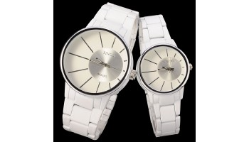 Hot Sale Sinobi White Stainless Steel Band Watches Couple Tables Lovers Gift