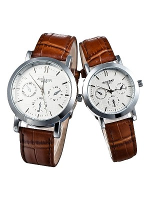Lovers Japan Movt Brown Strap Wrist Watch for Men Women Couple Table