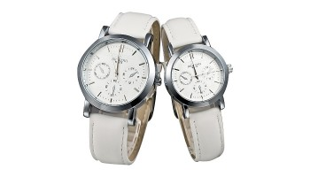 Lovers Japan Movt White Strap Wrist Watch for Men Women Couple Table