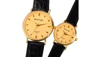 Quartz Women's Men's Fashion Casual Couple Wristwatch - Golden