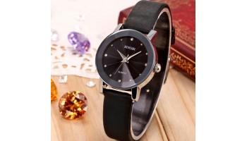 SINOBI Crystal Alloy Case Elegant Couple Quartz Black Leather Casual Wrist Watch
