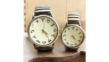 Twelve constellations Vintage Bronze Fashion Elastic Couple Watch